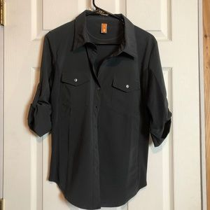 Lucy Walkabout Shirt Button Front 3/4 Sleeve L